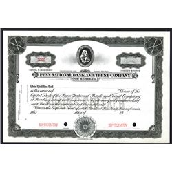 Penn National Bank and Trust Co. of Reading, Specimen Stock Certificate.