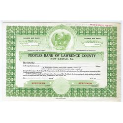 Peoples Bank of Lawrence County, ca.1940-1950 Specimen Stock Certificate