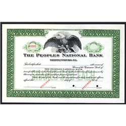 Peoples National Bank, Specimen Stock Certificate.