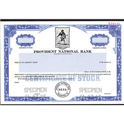 Provident National Bank, Specimen Stock Certificate.