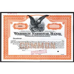 Warren National Bank, Specimen Stock Certificate.