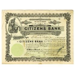 Citizens Bank, 1908 Issued Stock Certificate