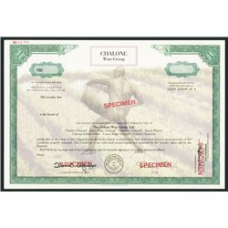 Chalone Wine Group Ltd. Specimen Stock Certificate.