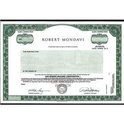 Robert Mondavi Corp., Specimen Stock Certificate.