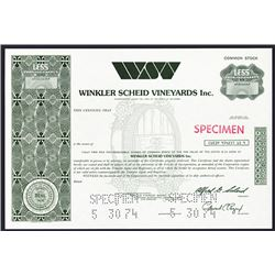 Winkler Scheid Vineyards Inc., Specimen Stock Certificate.