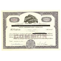 Gipps Distributing Co., 1954 Issued Stock Certificate