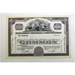 Berghoff Brewing Corp. ca. 1930-40's Specimen Stock Certificate.