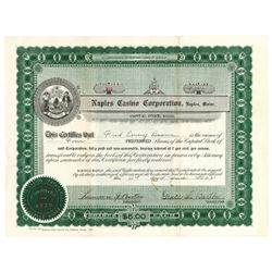 Naples Casino Corp., 1921 Issued Stock Certificate