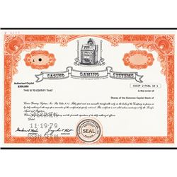 Casino Gaming Systems, Specimen Stock Certificate.