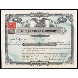 Billings Sheep Company Stock Certificate.