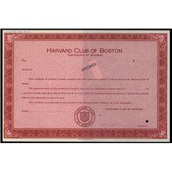 Harvard Club of Boston, Specimen Stock Certificate.