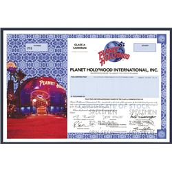 Planet Hollywood International, Inc., Specimen Stock Certificate.