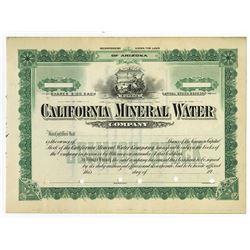 California Mineral Water Co., ca.1910 Specimen Stock Certificate.