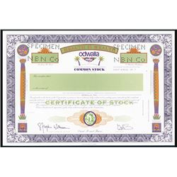 Odwalla, Inc. Specimen Stock Certificate.
