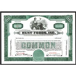 Hunt Foods, Inc., Specimen Stock Certificate.