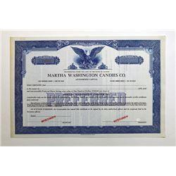 Martha Washington Candies Co. Specimen Stock Certificate.