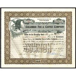 Columbia Tea & Coffee Co., 1909 Stock Certificate.