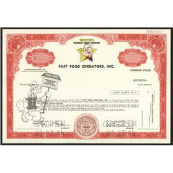 Fast Food Operators, Inc. Specimen Stock Certificate.