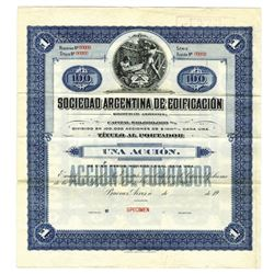Sociedad Argentina de Edificacion, ca.1900-1920 Specimen Bond