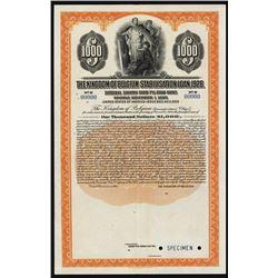 The Kingdom of Belgium Stabilisation Loan, 1926 Specimen Bond.