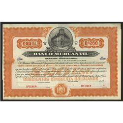 Banco Mercantil  ca.1910-1920 Specimen Bond.