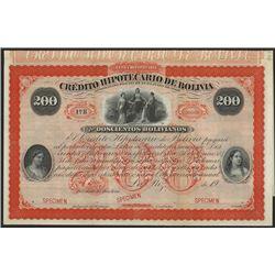 Credito Hipotecario De Bolivia, 1869 Design used in 1900 Specimen Bond.