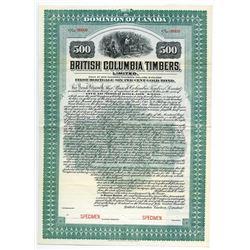 British Columbia Timbers Ltd. Specimen bond ca.1908.
