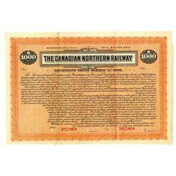 Canadian Northern Railway, 1918 Specimen Bond