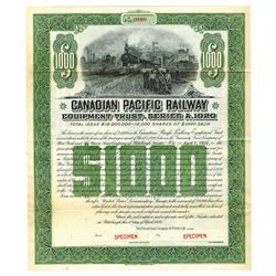 Canadian Pacific Railway, 1920 Specimen Bond