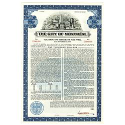 City of Montreal Specimen Bond.