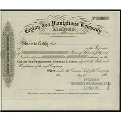 Ceylon Tea Planters Company Ltd., ca.1890-1900 Proof Certificate
