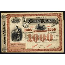 Banco Agricola ca.1880's Specimen Bond.