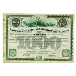 El Banco Garantizador de Valores, ca.1880-1900 Specimen Bond