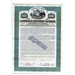 La Empresa De Agua Potable de Valparaiso, 1915 Specimen Bond