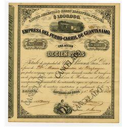Empresa Del Ferro-Carril De Guantanamo 1882 Stock Certificate.