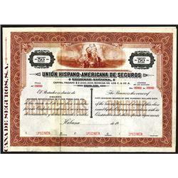 Union Hispano-Americana De Seguros, ca.1910-1940 Specimen Bond.