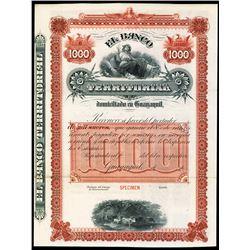 Banco Territorial, ca.1900-1920 Specimen Bond.Specimen Bond.