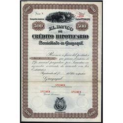 El Banco de Credito Hipotecario ca.1900-1920 Specimen Bond.Specimen Bond.