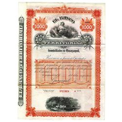 El Banco Territorial , ca.1900-1920 Specimen Bond