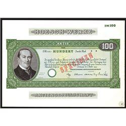 Hoesch Werke, 1955 Specimen Stock Certificate.