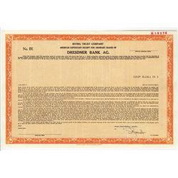 Dresdner Bank AG., 1986 Specimen Stock Certificate