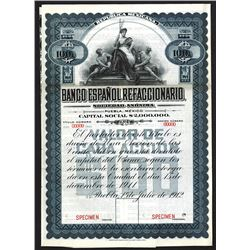 Banco Espanol Refaccionario 1912, Specimen Circulating Stock-Bond.