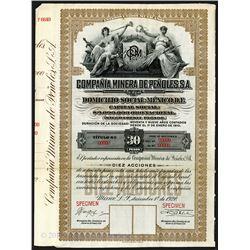 Compania Minera De Penoles, SA 1920, Specimen Bond.