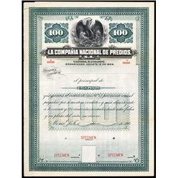 La Compania Nacional de Predios, S.A. ca.1900-1910 Specimen Bond.