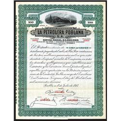 La Petrolera Poblana 1917 Specimen Share Certificate.