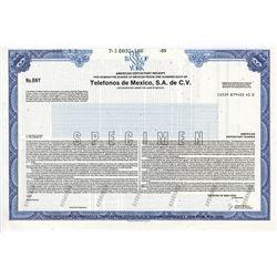 Telefonos de Mexico, S.A. de C.V., 1989 Specimen Stock Certificate
