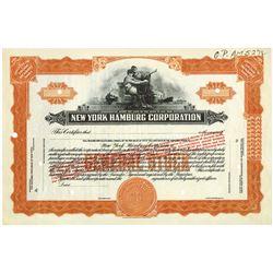New York Hamburg Corp., ca.1928 Specimen Stock Certificate.