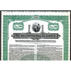Inca Cotton Mill Co., 1920, 200 Peruvian Pounds Specimen Bond.
