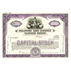 Philippine Long Distance Telephone Co., ca.1970-1980 Specimen Stock Certificate