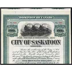 City of Saskatoon, 1909 Specimen Bond. Canada,
